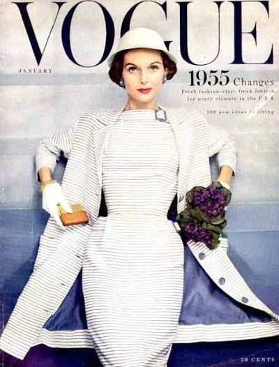 Chic winter white on the January 1955 cover of Vogue. #vintage #1950s #dresses #fashion