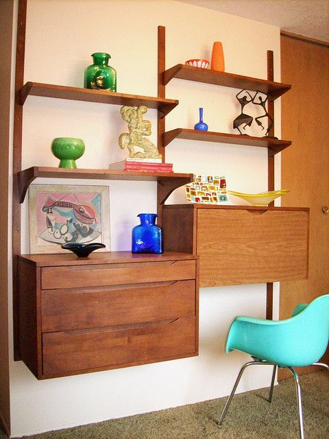 I seriously covet these danish modern wall units. #wallunit #storage #shelving