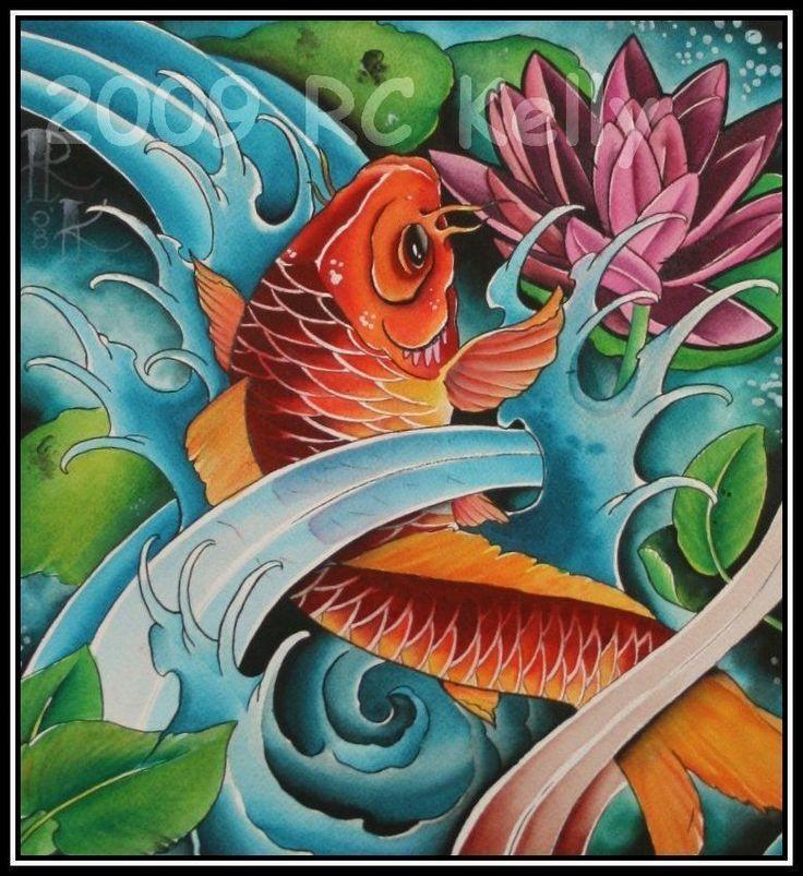 Japanese koi watercolor print tattoo art beautiful art for Japanese koi painting