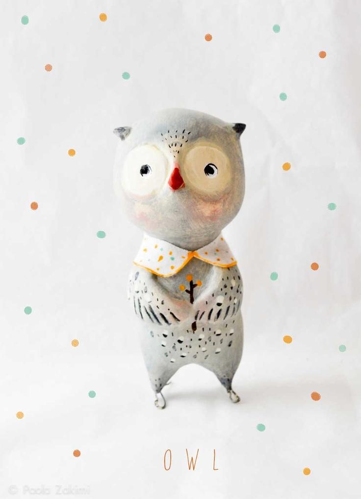 Owl Figurine Animal by Paola Zakimi