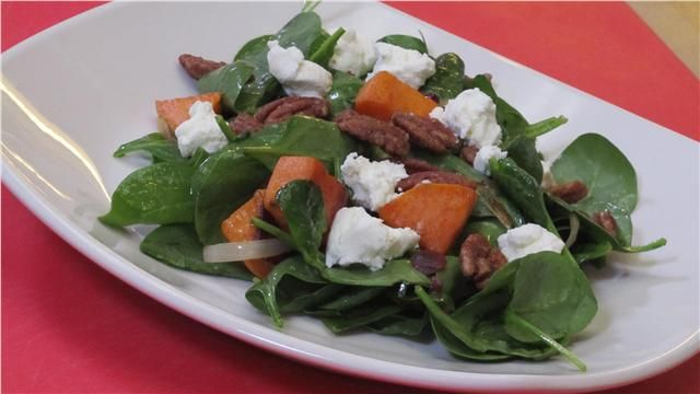 ... with Roasted Sweet Potatoes, Pecans, Dried Cranberries and Goat Cheese