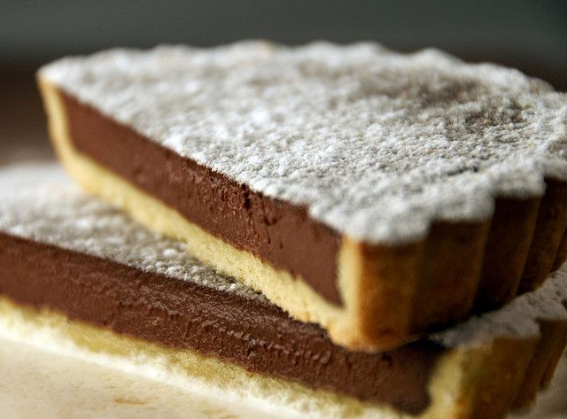 Rich dark chocolate tart, with shortbread crust, generously and ...