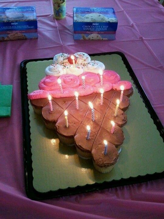 Ice Cream Shaped Cake : Cupcake cake Cupcake pull apart cake Pinterest