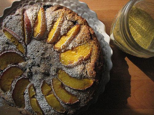 Peach and Blueberry Polenta Breakfast Cake