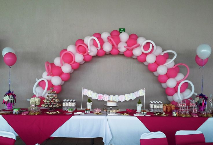 Decoraci n para bautizo de ni a pink and white party - Decoracion para bautizo de nina en casa ...