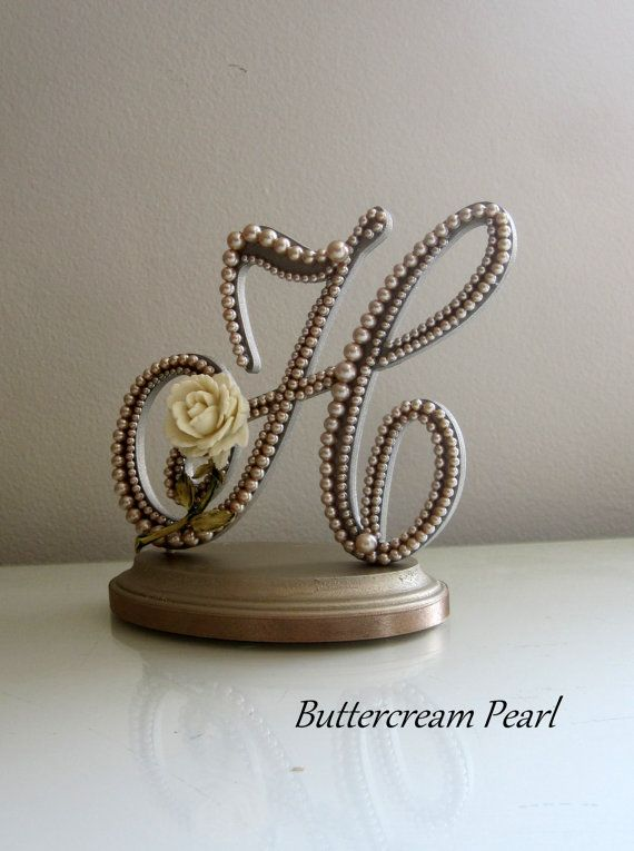 Wedding Cake Topper Monogram Letter H Vintage Champagne ...
