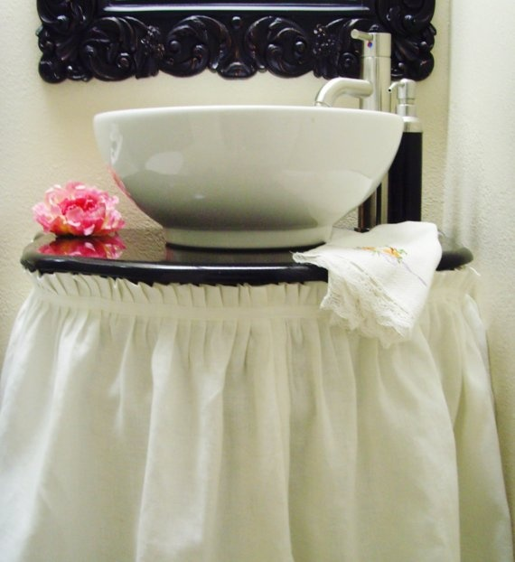 pleated sink skirt DIY Pinterest