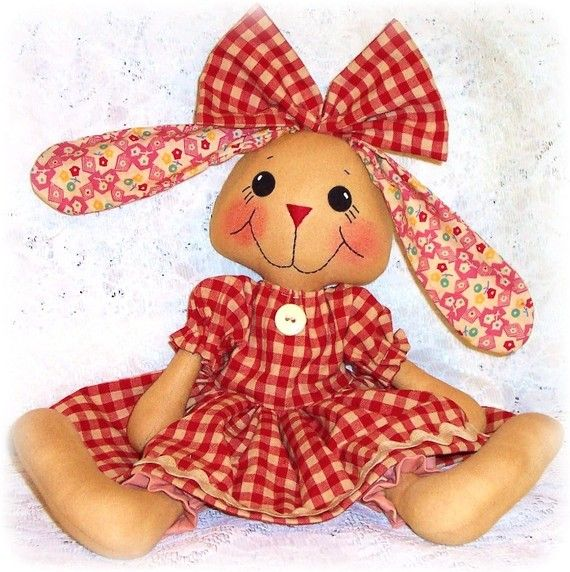 Bunny Rabbit Doll PATTERN, Instant Download, PDF, Softie, Animal Pattern, Rag Doll Pattern, Sewing Pattern, Digital Download