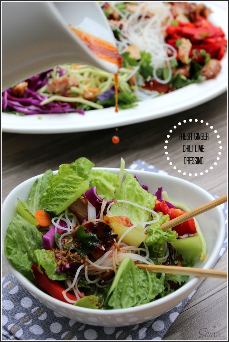 Chopped Asian Chicken Salad with Ginger Chili Lime Dressing | Recipe