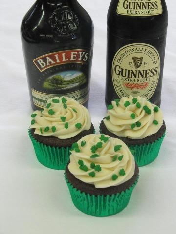 Chocolate Guinness Stout Cupcakes with Bailey's Irish Cream Frosting