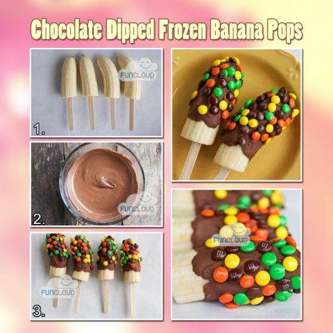 Frozen chocolate banana pops.