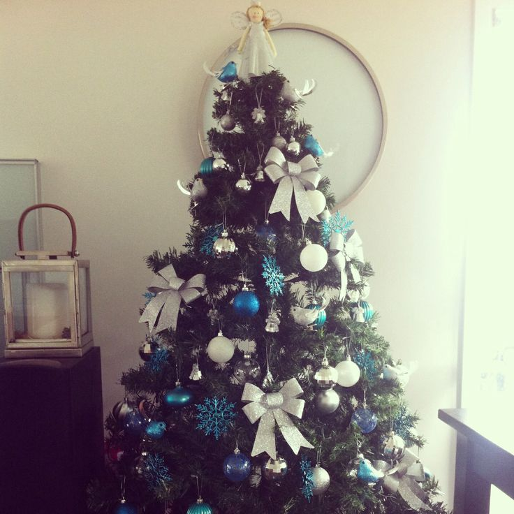 Pin by joann hsu on winter holiday pinterest - Blue themed christmas tree ...