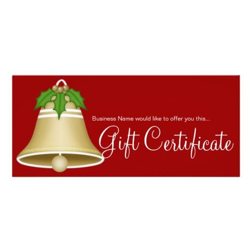 Tan Christmas Bell Holiday Gift Certificate d2