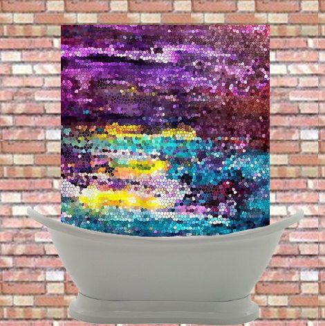 Artistic purple and teal mosaic shower curtain broken for Purple mosaic bathroom accessories