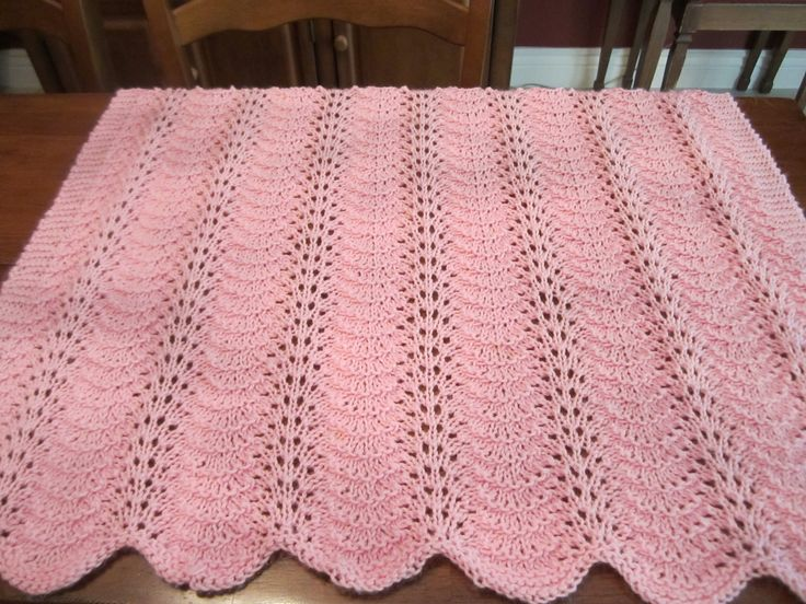 Fan And Feather Knitting Pattern For Baby Blanket : Knit Baby Blanket Fan and Feather Crafts I have made ...