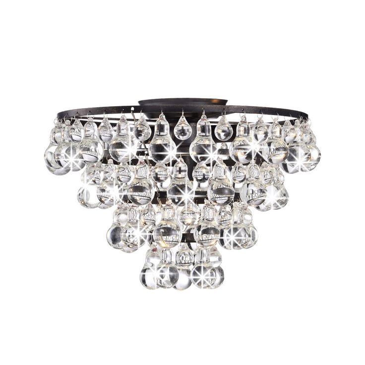 Tranquil Crystal and Bubble Flush mount Chandelier