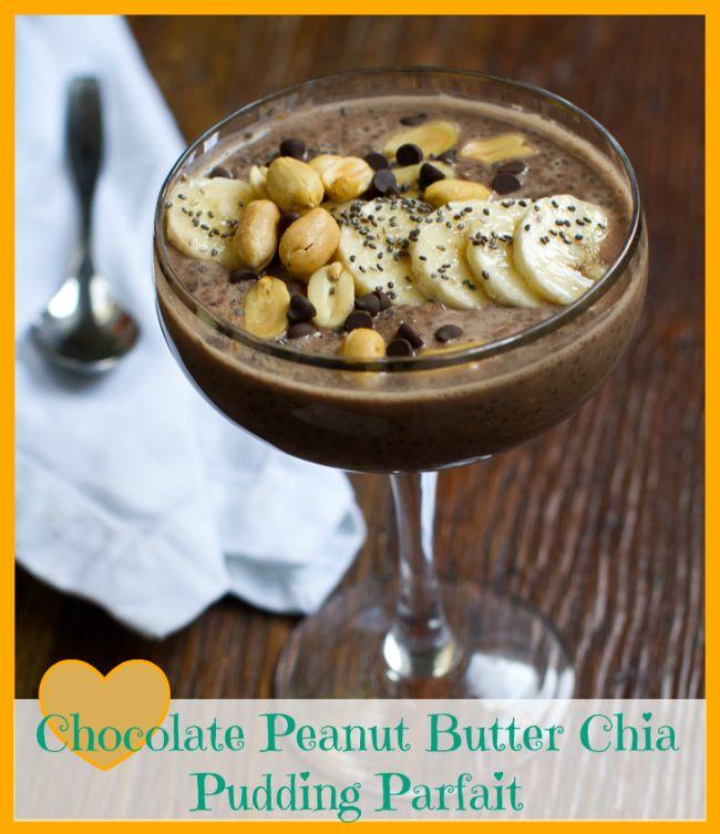 Chocolate Peanut Butter Chia Seed Pudding Parfait #vegan