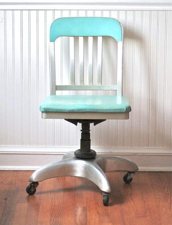 Mid Century General Fireproofing fice Chair Aqua Atomic