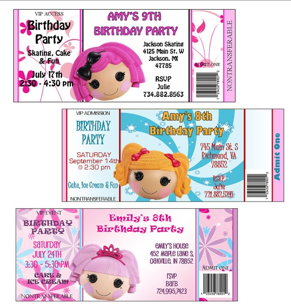 Lala Loopsy Ticket Style Personalized by lovelypapercreations, $0.95