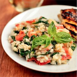 Tomato-Basil & Spinach Risotto is creamy and decadent, with the ...