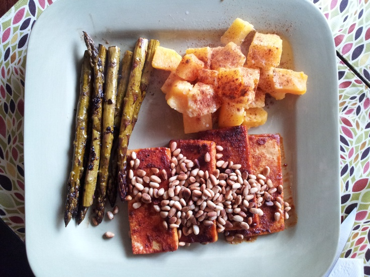 Spuce-Crusted Tofu with Butternut Squash & Asparagus. Got the tofu ...