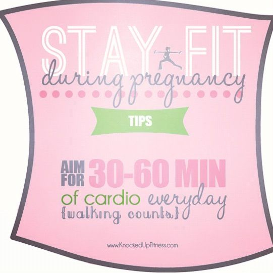 Stay fit during pregnancy: aim for 30-60 minutes of cardio most days of the week! Prenatal fitness / pregnant / prenatal exercise