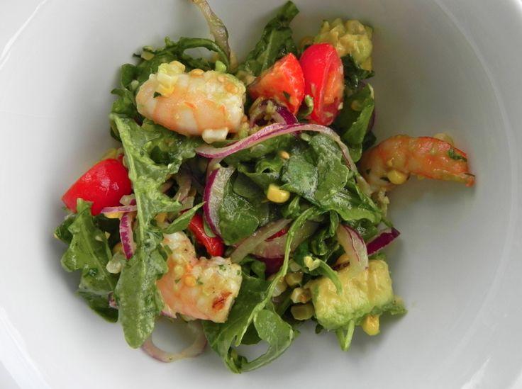 Grilled Shrimp and Arugula Avocado Salad...AMAZING summer salad ...