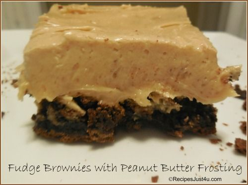 Fudge Brownies with Peanut Butter Frosting | Recipe