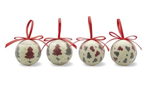 Baubles in pearl finish with red ribbon hanger and a green and red