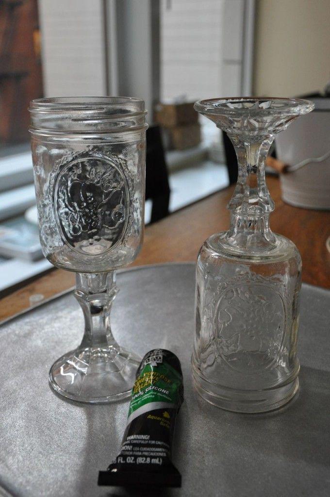 mason jar wine glass  DIY/Projects  Pinterest