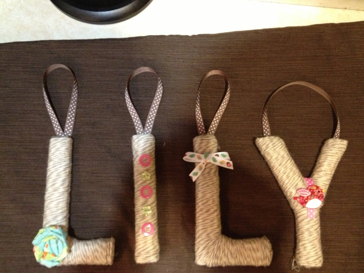 letters covered in yarn