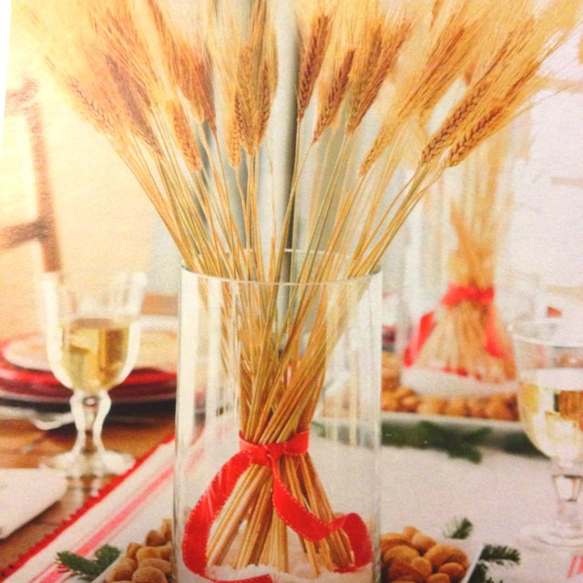 Wheat centerpiece christmas decor gifting pinterest for Wheat centerpieces