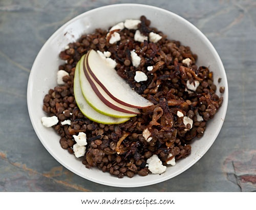 Warm Green Lentil Salad with Caramelized Onions, Feta Cheese, and Pea ...