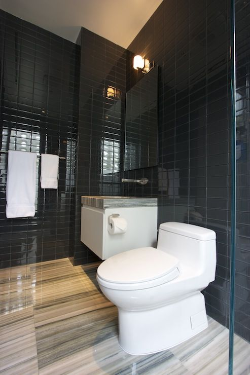 Bathrooms Black Glass Subway Tiles Modern Bathrooms Pinterest