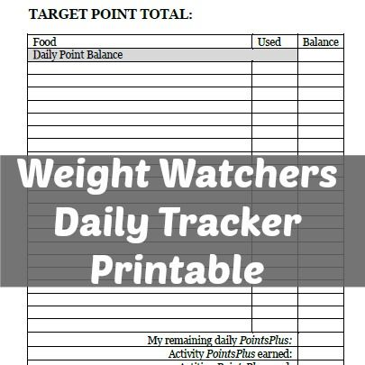 Weight Watchers Daily Tracker Printable | weight watchers | Pinterest