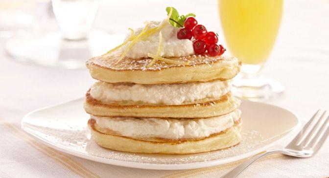 Lemon Ricotta Pancakes with Lemon Ricotta Cream | Recipe
