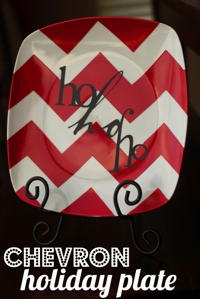 love this plate...spray paint the chevron using contact paper as a stencil