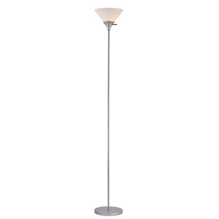 home design 100 watt floor lamp silver finish with white plastic shade. Black Bedroom Furniture Sets. Home Design Ideas