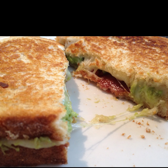 ... cheese covered grilled cheese sandwich bacon guacamole grilled cheese