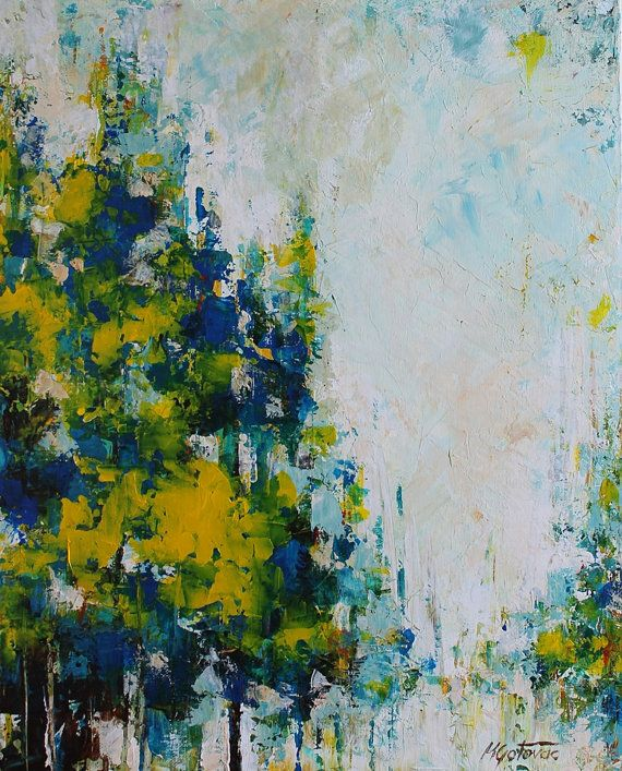Original acrylic painting blue forest abstract modern for Painting a forest in acrylics