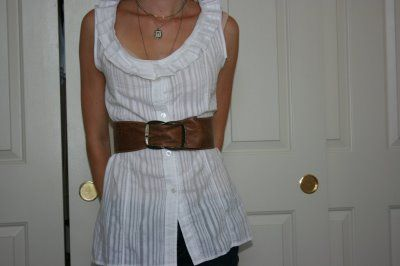 Blouse Refashion (from man's dress shirt) Tutorial - I like the ruffles