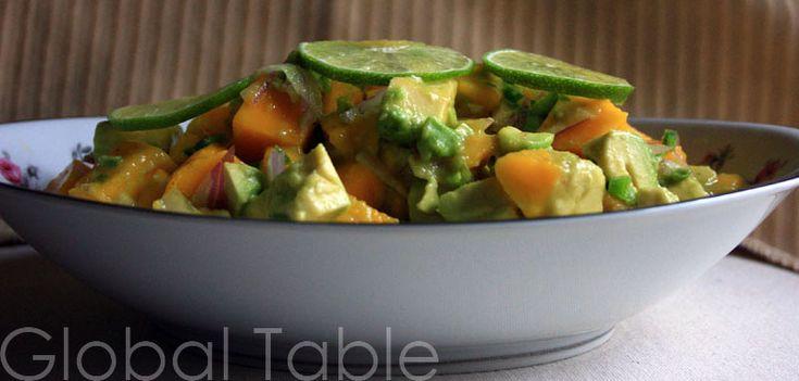 spicy avocado dressing heirloom tomato and avocado salad with crispy ...