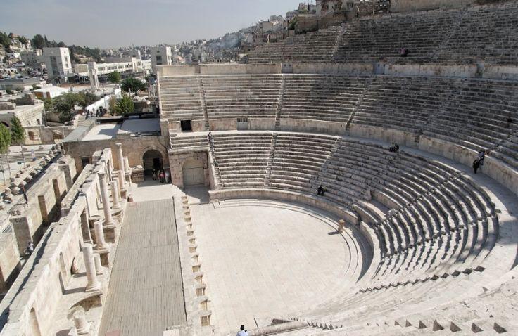 Roman theatre at Amman in Jordan.  Roman Entertainment ...