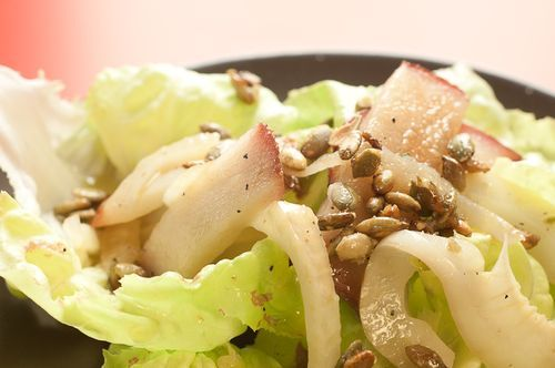 Warm Fennel Salad with Pears and Candied Pumpkin Seeds – Recipe