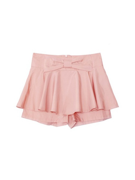 Pink Mid Waist Bow Polyester Shorts