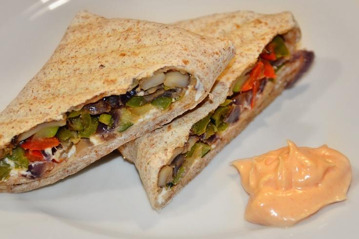 Grilled Mediterranean Veggie Wrap. Cut and saute veggies, onion ...