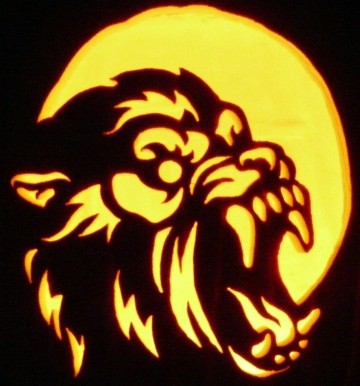 carved pumpkin american werewolf in london pattern