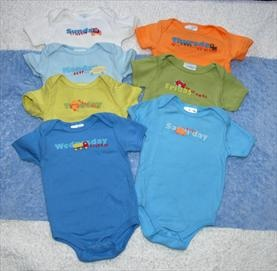 0-6 Month Small Wonders Day of the Week Body Suits     Price: $5.00