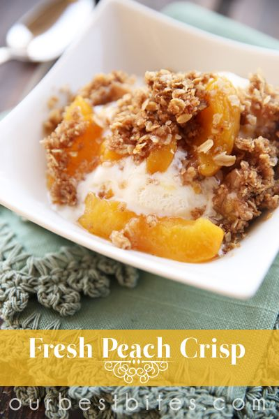 just putting this Fresh Peach Crisp into the oven!