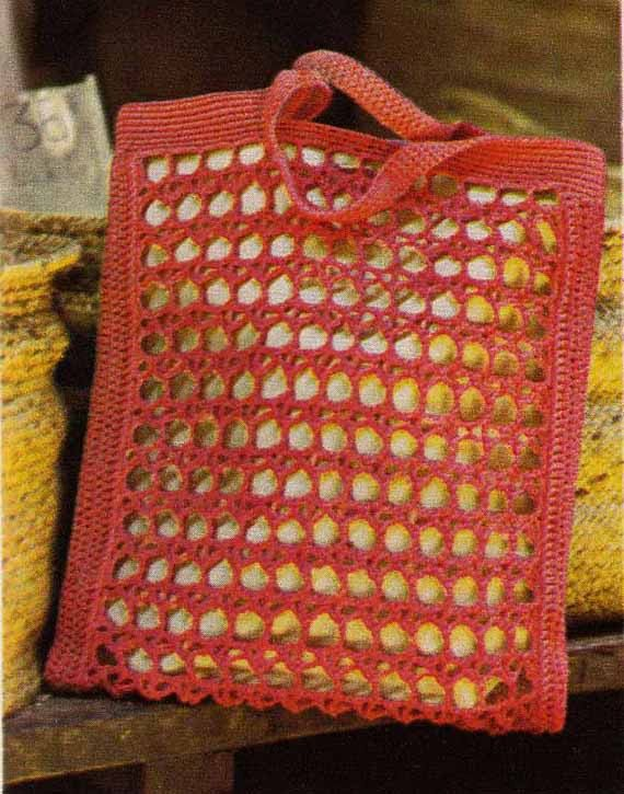 Crochet Bucket Bag Pattern : ... VINTAGE CROCHET PATTERN - Tote Bag/Market Bag & Shoulder Bag, I